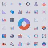 Diagrammikone des Ringes 3D Diagramm- u. Diagramms-Ikonenuniversalsatz für Netz und Mobile stock abbildung