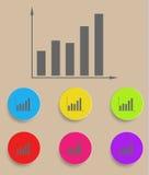 Diagrammikone mit Farbveränderungen, Vektor Stockfotos