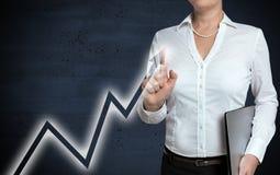 Diagrammmit berührungseingabe bildschirm wird von der Geschäftsfrau gezeigt stockfotos