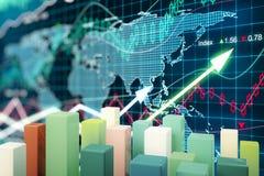 Diagrammstangen auf Devisenhintergrund Lizenzfreies Stockbild