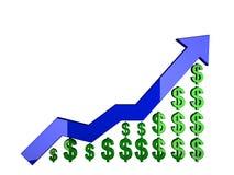 Diagrammsteigen des Dollars 3d getrennt auf Weiß Stockbild