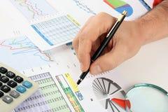 Diagrammtabellen und -dokumente Stockfoto