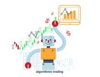Diagrammvektorillustration des Roboters und der Börse Lizenzfreie Stockfotografie