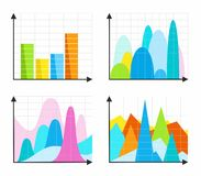 Diagrams, charts, colored, flat. Stock Images