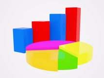 Diagrams. The column and pie charts Royalty Free Stock Photo