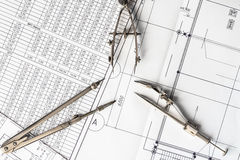 Diagrams and drawing tools on the table Royalty Free Stock Image