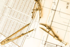 Diagrams and drawing tools on the table Royalty Free Stock Photos