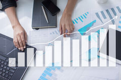 Diagrams and graphs. Business strategy, data analysis, financial growth concept. Diagrams and graphs on virtual screen. Business strategy, data analysis Royalty Free Stock Photos