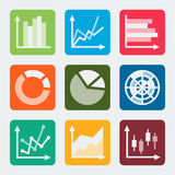 Diagrams, graphs, charts vector icons Royalty Free Stock Image