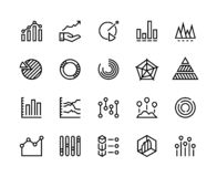 Diagrams line icons. Business data chart pie increase analytic candlestick chart trend information graph. Diagram vector stock illustration