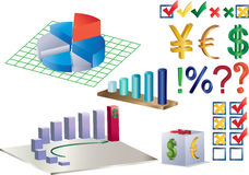 Diagrams and other. Combination of charts, diagrams and currency signs Royalty Free Stock Photography