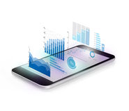 Diagrams projecting from mobile phone Stock Images