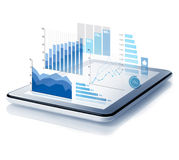 Diagrams projecting from tablet Royalty Free Stock Image
