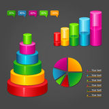 Diagrams. Set of colorful glossy diagrams icons for your business presentations Royalty Free Stock Images