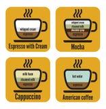 Diagramtyper av kaffe Arkivfoto