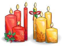 Diagramuppsättning av julstearinljus Fotografering för Bildbyråer