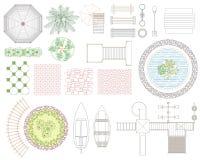 Diagramuppsättning av rekreation- och landskapbeståndsdelar Top beskådar också vektor för coreldrawillustration På vitbakgrund Arkivbild
