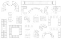 Diagramuppsättning av trappa i olika former Top beskådar också vektor för coreldrawillustration bakgrund isolerad white Royaltyfria Bilder