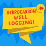 Diagraphie d'hydrocarbure d'apparence de signe des textes Le disque conceptuel de photo des formations géologiques d'un forage a  illustration de vecteur