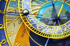 Dial of astronomical clock in Prague royalty free stock photography
