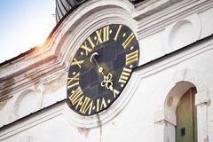 Dial of the clock and arrow on Alexander Nevsky Cathedral. Tallinn Stock Photo