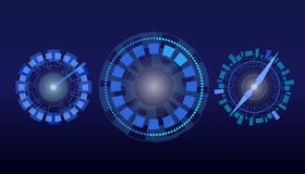 Dial de HUD, reloj, velocímetro ilustración del vector