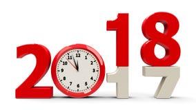 2017-2018 dial de reloj ilustración del vector