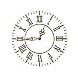 Dial de reloj de bronce viejo stock de ilustración
