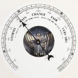Dial del barómetro fijado para llover Fotos de archivo