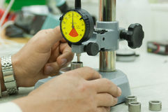 Dial gauge on measuring stand Stock Photo