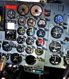 Dial gauges on aircraft control panel Royalty Free Stock Images