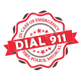 Dial 911 - grunge label stamp. Fire, Police, Medical. In case of Emergency, dial 911 Stock Image