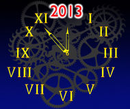 The dial of hours and 2013. On a black dark blue background Royalty Free Illustration