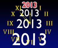 The dial of hours and 2013. On a black dark blue background Stock Illustration
