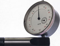 Dial indicator. Digital indicator on the stand for the accurate measurement readings Stock Photo