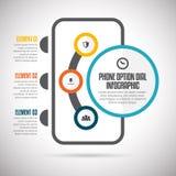 Dial Infographic de la opción del teléfono Foto de archivo libre de regalías