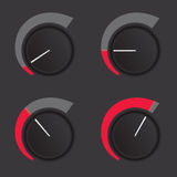 Dial levels. A set of dials at low to high levels Royalty Free Stock Image