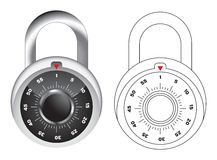 Dial lock vector illustration. In colour and line art royalty free illustration