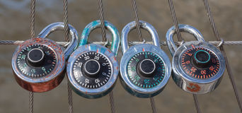 The 4 dial locks with code, Dial lock with nylon fence Stock Photography