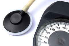 Dial of a manometer. Close up on a white background Stock Photos