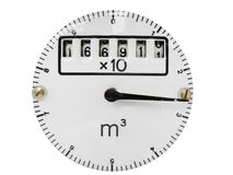 Dial with needle and rolls on white Royalty Free Stock Photo