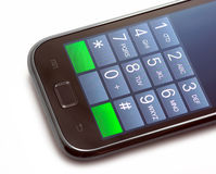 Dial number on touch screen phone Royalty Free Stock Photo
