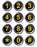 Dial numbers. Yellow numbers  over  black background  and chrome  frame . isolated illustration Stock Photos