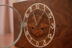 The dial of the old clock. Vintage wooden clock with the lid open Stock Photos
