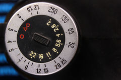 Dial of old photo flash exposure meter with aperture stops, iso Stock Photo