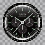 Dial realista del negro del acero inoxidable de la cara del cronógrafo del reloj del reloj en vector a cuadros del fondo del mode ilustración del vector