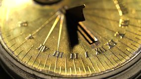 Dial of a sundial on a white background. Close up. Dial of a sundial on a white background and showing the exact time. Close up stock video
