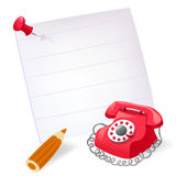 Dial telephone, note, pencil Royalty Free Stock Photography