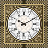 Dial Victorian clock in the style of Big Ben. Vector editable template Stock Images