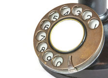 Dial from Vintage Candlestick Telephone. The dial from an antique or vintage candlestick telephone as used from the 1900s onwards stock images